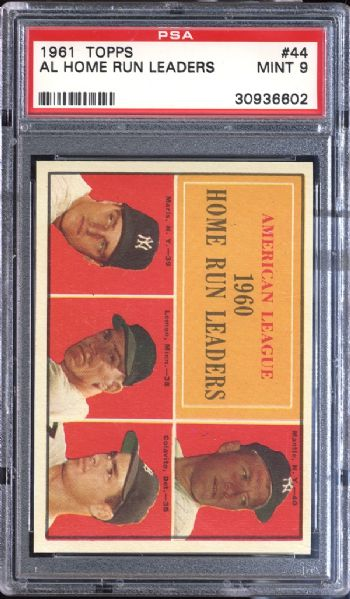 1961 Topps #44 A.L. Home Run Leaders PSA 9 MINT