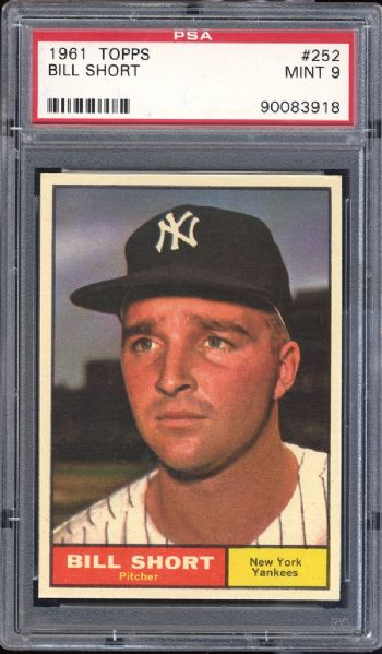 1961 Topps #252 Bill Short PSA 9 MINT