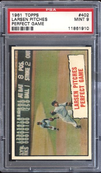 1961 Topps #402 Larsen Pitches Perfect Game PSA 9 MINT