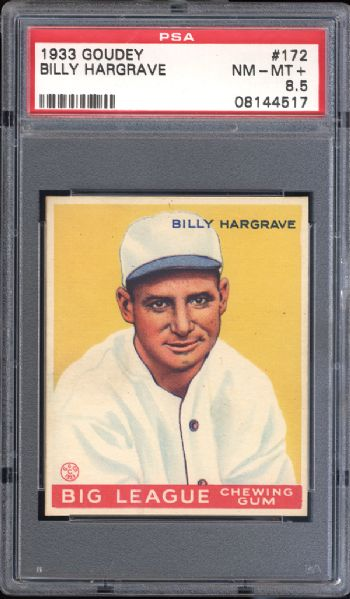 1933 Goudey #172 Billy Hargrave PSA 8.5 NM/MT+