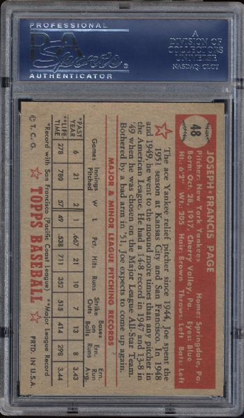 1952 Topps #48 Joe Page Correct Bio PSA 8 NM/MT