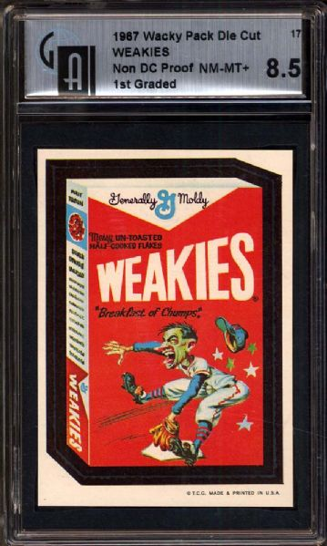 1967 Topps Wacky Packages #17 Weakies Final Production Test Proof (Non Die-cut) GAI 8.5 NM/MT+
