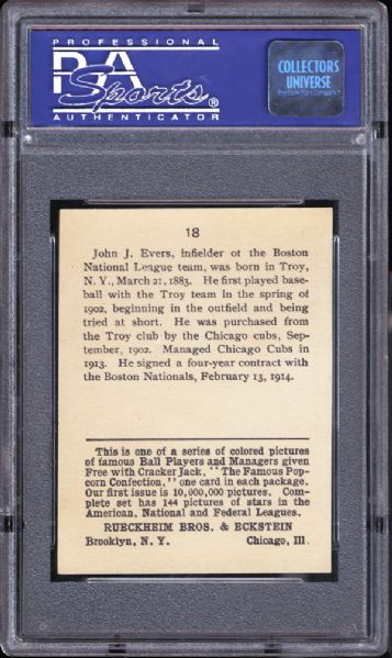 1914 Cracker Jack #18 Johnny Evers PSA 8 NM/MT