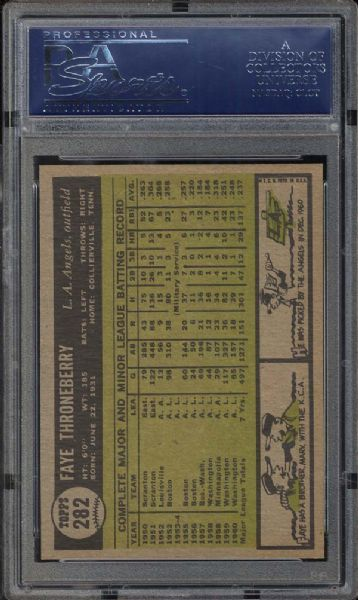 1961 Topps #282 Faye Throneberry PSA 10 GEM MINT
