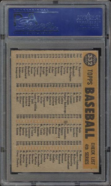 1960 Topps #332 Yankees Team PSA 9 MINT