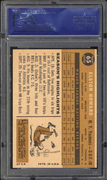 1960 Topps #65 Elston Howard PSA 9 MINT