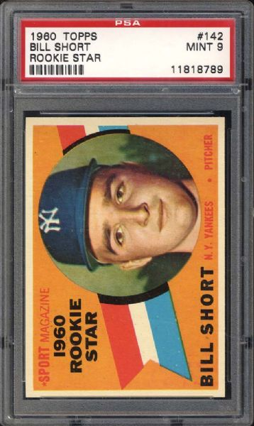 1960 Topps #142 Bill Short PSA 9 MINT