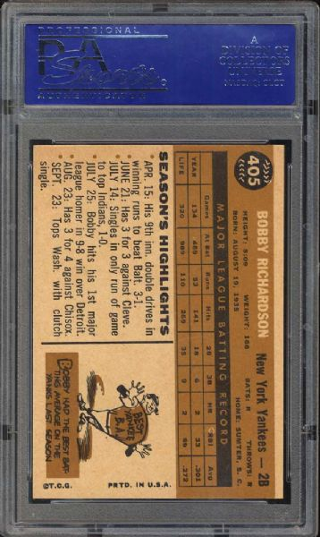 1960 Topps #405 Bobby Richardson PSA 9 MINT