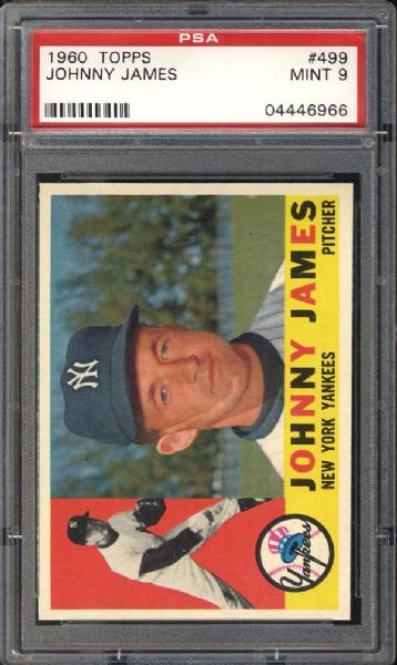 1960 Topps #499 Johnny James PSA 9 MINT