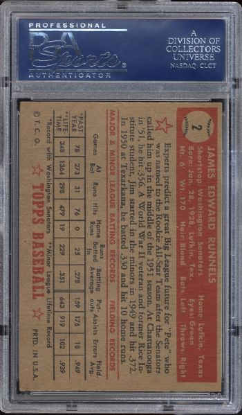 1952 Topps #2 James E. Runnels PSA 7 NM