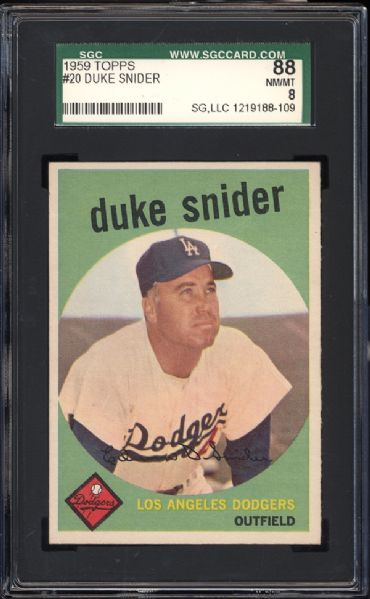 1959 Topps #20 Duke Snider SGC 88 NM/MT 8
