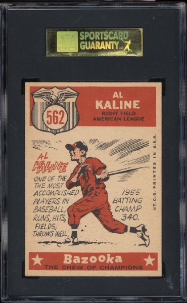 1959 Topps #562 Al Kaline All Star SGC 88 NM/MT 8