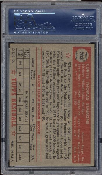 1952 Topps #203 Curt Simmons PSA 8 NM/MT