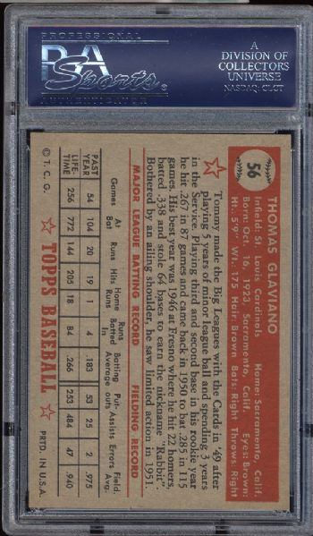 1952 Topps #56 Tommy Glaviano PSA 8 NM/MT