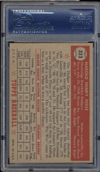 1952 Topps #333 Pee Wee Reese PSA 6 EX/MT