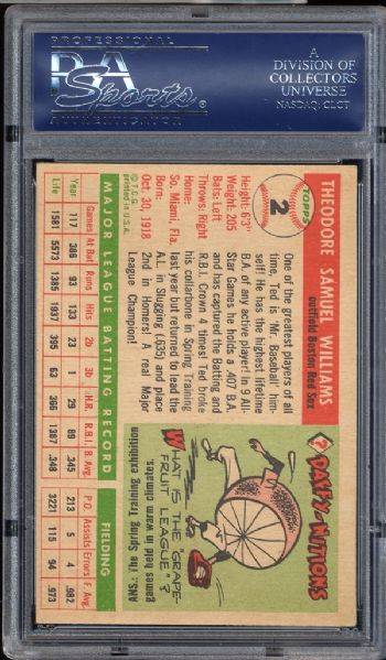 1955 Topps #2 Ted Williams PSA 6.5 EX/MT+