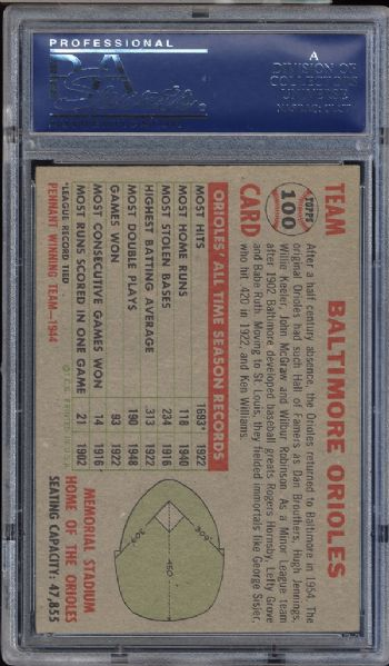 1956 Topps #100 Orioles Team No Date Name Left Gray Back PSA 7 NM