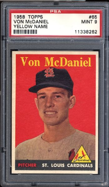 1958 Topps #65 Von McDaniel Yellow Name PSA 8 NM/MT
