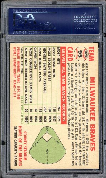 1956 Topps #95 Braves Team PSA 7 NM
