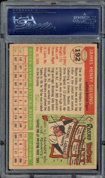 1955 Topps #192 Jim Delsing PSA 8 NM/MT