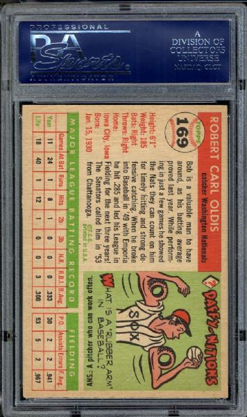 1955 Topps #169 Bob Oldis PSA 8 NM/MT