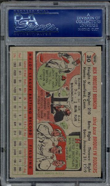1956 Topps #30 Jackie Robinson PSA 8 NM/MT