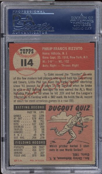 1953 Topps #114 Phil Rizzuto PSA 8.5 NM/MT+
