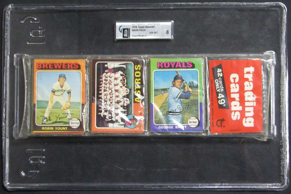 lot detail 1975 topps baseball unopened rack pack with yount and brett rookies on top gai 8 nm mt. Black Bedroom Furniture Sets. Home Design Ideas