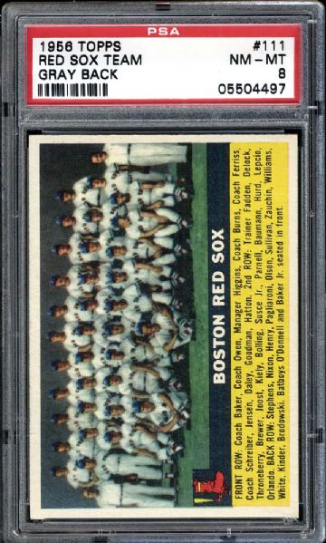 1956 Topps #111 Red Sox Team Gray Back PSA 8 NM/MT