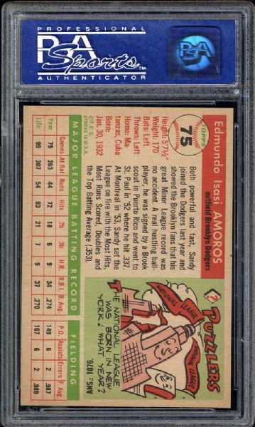 1955 Topps #75 Sandy Amoros PSA 8 NM/MT