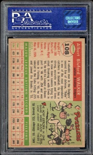 1955 Topps #108 Rube Walker PSA 8 NM/MT