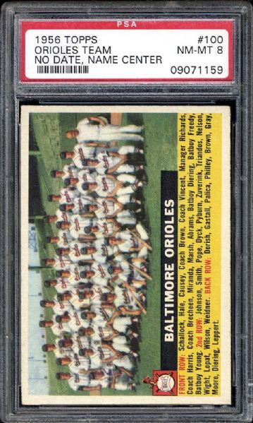 1956 Topps #100 Orioles Team No Date, Team Center PSA 8 NM/MT