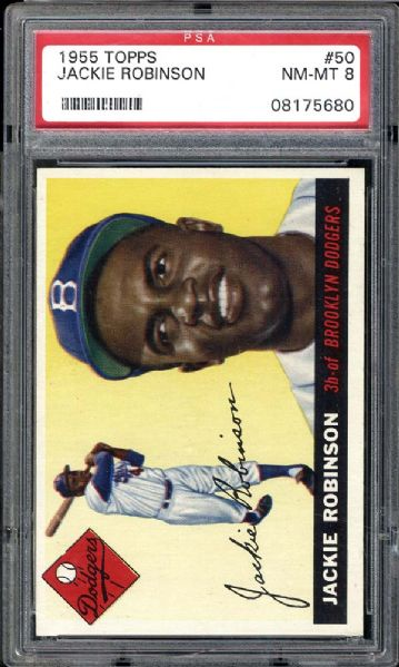 1955 Topps #50 Jackie Robinson PSA 8 NM/MT