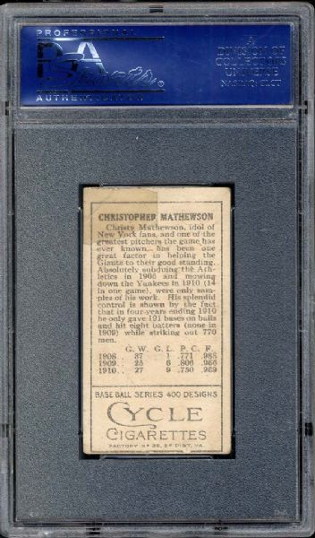 1911 T205 Cycle Back (37-1 Variation) Christy Mathewson PSA 2 GOOD