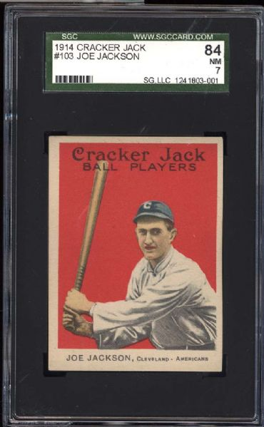 1914 Cracker Jack #103 Joe Jackson SGC 84 NM 7
