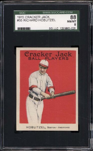 1915 Cracker Jack #55 Richard Hoblitzel SGC 88 NM/MT 8