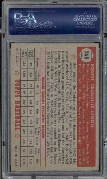1952 Topps #268 Bob Lemon PSA 8 NM/MT
