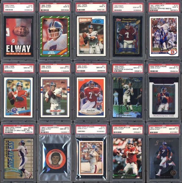 1984-2005 John Elway High-Grade Collection of (139) PSA Graded Cards