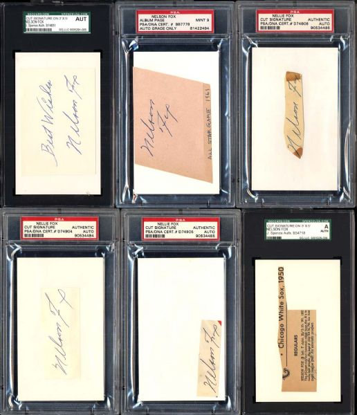 Group of 6 Nellie Fox Cut Signatures PSA/DNA and JSA