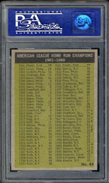 1961 Topps #44 AL Home Run Leaders PSA 8 NM/MT