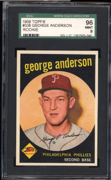 1959 Topps #338 George Anderson SGC 96 MINT 9