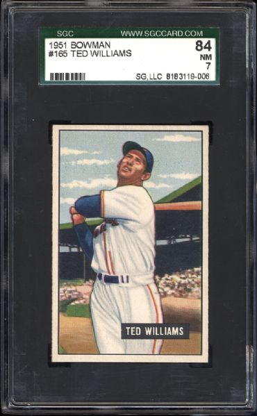 1951 Bowman #165 Ted Williams SGC 84 NM 7