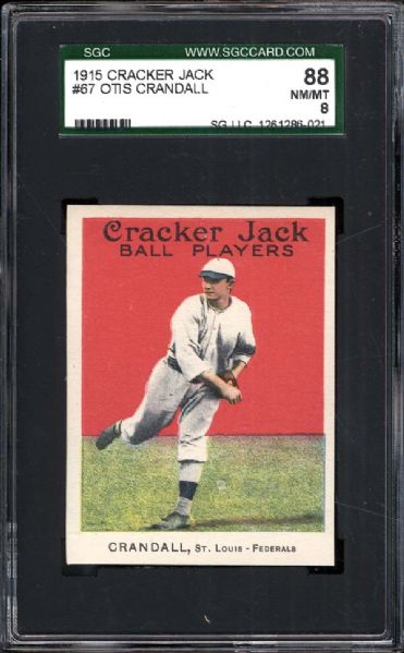 1915 Cracker Jack #67 Otis Crandall SGC 88 NM/MT 8