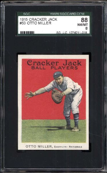 1915 Cracker Jack #53 Otto Miller SGC 88 NM/MT 8