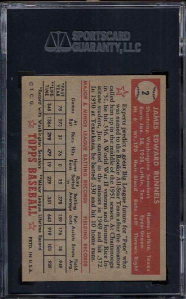 1952 Topps #2 James Runnels SGC 86 NM+ 7.5