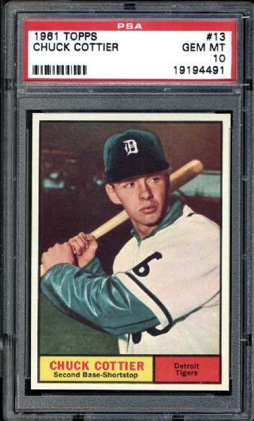 1961 Topps #13 Chuck Cottier PSA 10 GEM MINT