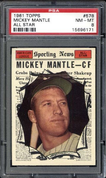 1961 Topps #578 Mickey Mantle All Star PSA 8 NM/MT
