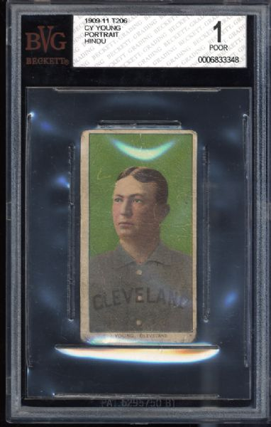1909-11 T206 Cy Young Portrait Hindu BVG 1 POOR