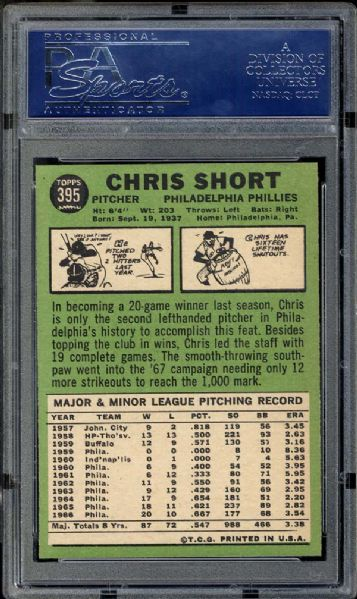 1967 Topps #395 Chris Short PSA 9 MINT