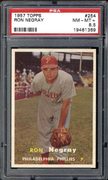 1957 Topps #254 Ron Negray PSA 8.5 NM/MT+